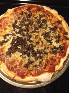 This pizza has seasoned ground beef - my son's favorite - as well as various seasonings too.